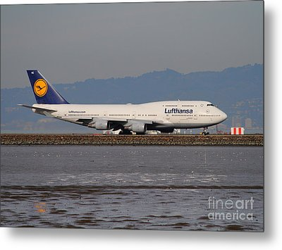 Lufthansa Jet Airplane At San Francisco International Airport Sfo . 7d12353 Metal Print by Wingsdomain Art and Photography