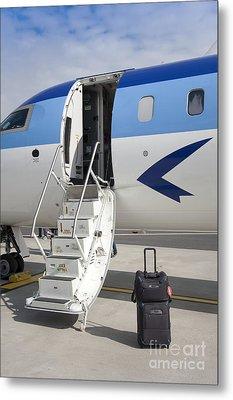 Luggage Near Airplane Steps Metal Print by Jaak Nilson