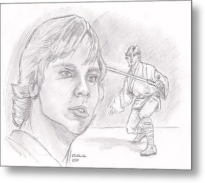 Metal Print featuring the drawing Luke Skywalker - Farmboy by Chris  DelVecchio