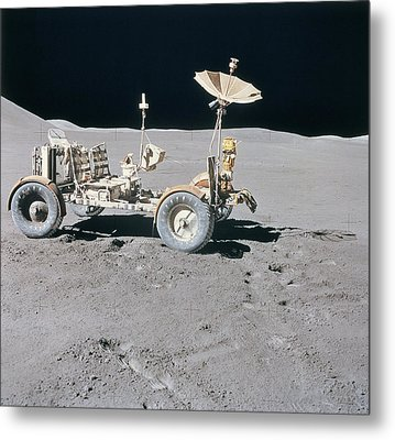 Lunar Vehicle On The Surface Of The Moon Metal Print by Stockbyte