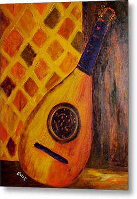 Lute By The Window Metal Print by Oscar