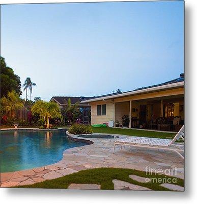 Luxury Backyard Pool And Lanai Metal Print by Inti St. Clair