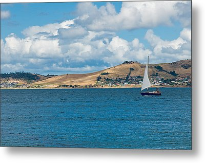 Luxury Yacht Sails In Blue Waters Along A Summer Coast Line Metal Print by U Schade