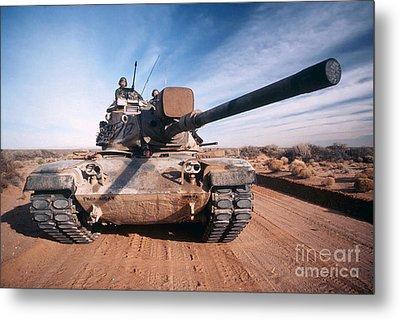 M-60 Battle Tank In Motion Metal Print by Stocktrek Images