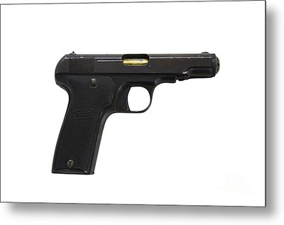 Mab Model D French Police Issue Pistol Metal Print by Andrew Chittock