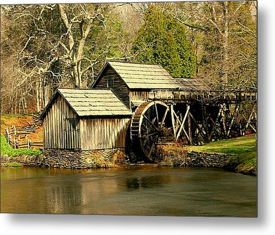 Metal Print featuring the photograph Mabry Mill In Winter by Myrna Bradshaw