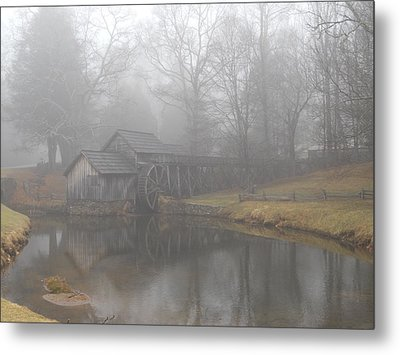 Metal Print featuring the photograph Mabry Mill On A Foggy Day by Diannah Lynch