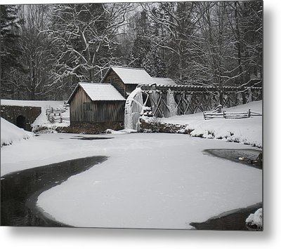 Mabry Mill On Ice Metal Print