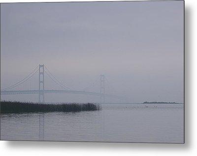 Metal Print featuring the photograph Mackinac Bridge And Swans by Randy Pollard