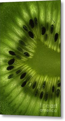 Macro Kiwi Slice Metal Print by Janeen Wassink Searles