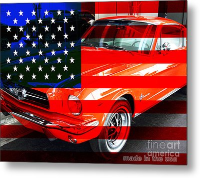 Made In The Usa . Ford Mustang Metal Print by Wingsdomain Art and Photography