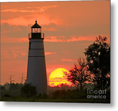 Madisonville Lighthouse Sunset Metal Print