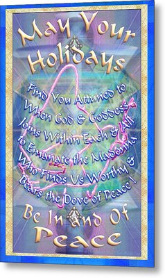 Metal Print featuring the digital art Madonna Dove And Chalice Vortex Over The World Holiday Art With Text by Christopher Pringer