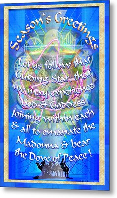 Metal Print featuring the digital art Madonna Dove Chalice-synthesis And Logos With Text by Christopher Pringer