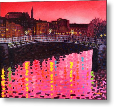 Magenta Evening Dublin Metal Print by John  Nolan