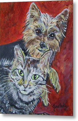 Maggie Mae And Buddy Metal Print by Paintings by Gretzky