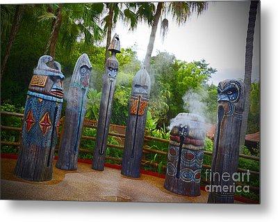 Magic Kingdom - Tiki Statues Metal Print by AK Photography