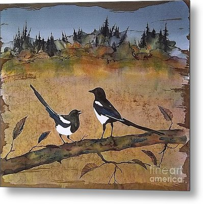 Magpies In The Last Of Autumns Leaves Metal Print by Carolyn Doe
