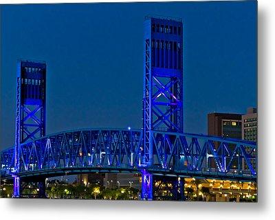 Main Street Bridge Jacksonville Metal Print by Debra and Dave Vanderlaan