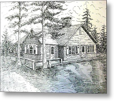 Metal Print featuring the drawing Maine House by Gretchen Allen