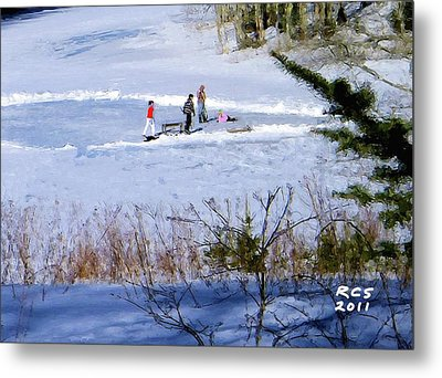 Metal Print featuring the digital art Maine Ice Skaters by Richard Stevens