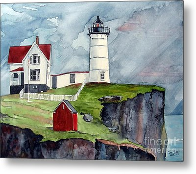 Metal Print featuring the painting Maine Lighthouse by Tom Riggs
