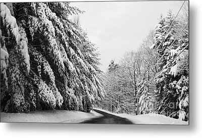 Maine Winter Backroad Metal Print by Christy Bruna
