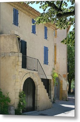 Maison With Blue Shutters Metal Print by Sandra Anderson
