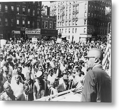 Malcolm X, Speaking To An Outdoor Rally Metal Print by Everett