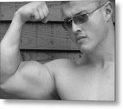 Male Muscle Art  Poser Metal Print by Jake Hartz