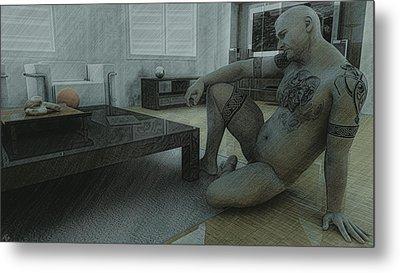 Male Nude Study Metal Print by Maynard Ellis