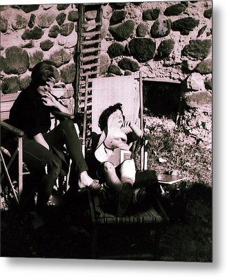 Mamma Chris And Colette Having A Well Deserved Rest  Siesta In The Garden In Alba France  Metal Print by Colette V Hera  Guggenheim