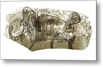 Mammoth, Prehistoric Bone Art Metal Print