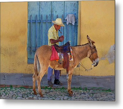 Metal Print featuring the photograph Man And A Donkey by Lynn Bolt