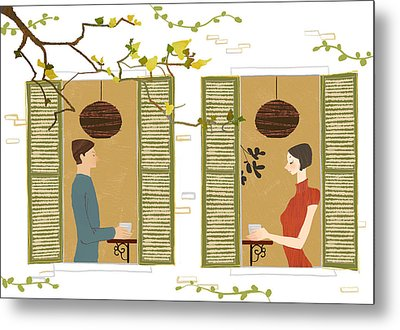 Man And Woman Drinking Coffee View From Window Metal Print by Eastnine Inc.
