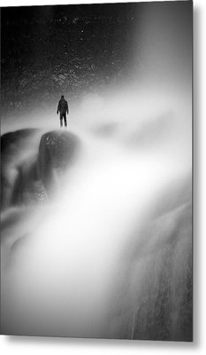 Man At Waterfall Metal Print
