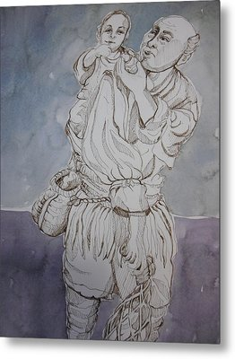 Man Carrying A Child Metal Print by Aleksandra Buha