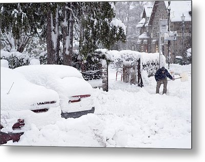 Man Clearing Snow, Braemar, Scotland Metal Print by Duncan Shaw