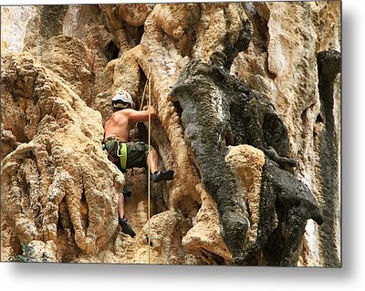 Man Climbing Rock Metal Print by Ulrike Maier