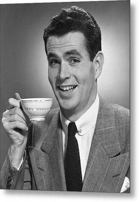 Man Drinking Coffee Metal Print by George Marks