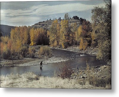 Man Fishes For Trout In The Naches Metal Print by Clifton R Adams