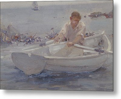 Man In A Rowing Boat Metal Print by Henry Scott Tuke
