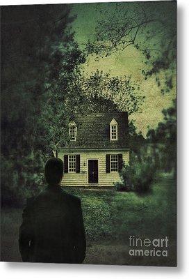 Man In Front Of Cottage Metal Print by Jill Battaglia
