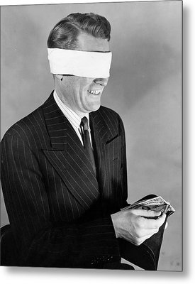 Man Wearing Blindfold Holding Money (b&w) Metal Print by Hulton Archive