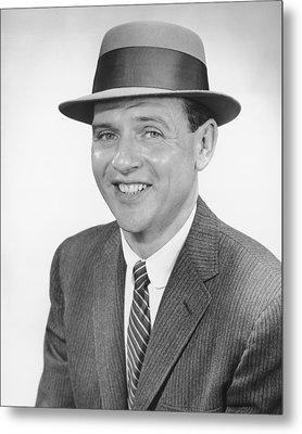 Man Wearing Hat, Posing In Studio, (b&w), Portrait Metal Print by George Marks