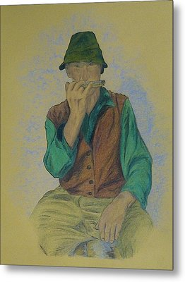Man With Harmonica Metal Print by Kat At illustraat