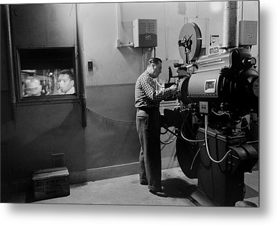 Man Working A Projector In A Movie Metal Print
