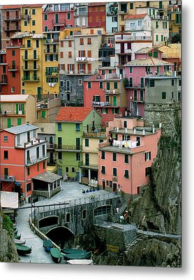Manarola Houses On The Cinque Terre Metal Print by Greg Matchick