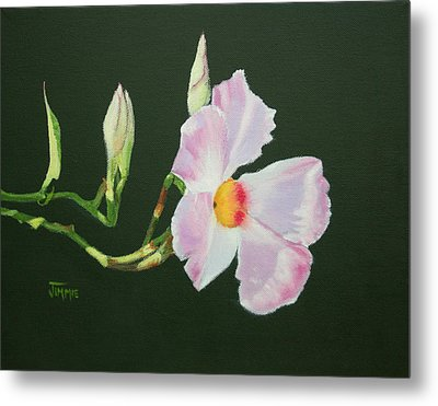 Metal Print featuring the painting Mandevilla Reaching Out by Jimmie Bartlett