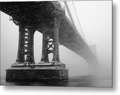 Manhattan Bridge Durning Winter Snow Storm Metal Print by Anthony Pitch